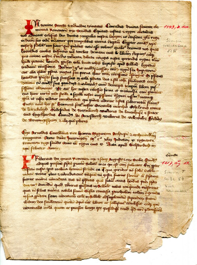 Folio 2r from a dismembered Cartulary from Selbold. Private Possession, reproduced by permission.