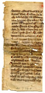 Recto of the fragmentary leaf from a 13th-century copy of Statutes for the Cistercian Order. Reproduced by permission.