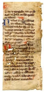 Verso of the fragmentary leaf from a 13th-century copy of Statutes for the Cistercian Order. Reproduced by permission.