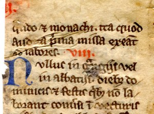 Detail of the top of the verso of the fragmentary leaf from a 13th-century copy of Statutes for the Cistercian Order. Reproduced by permission.