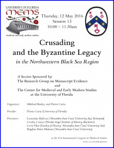 "Poster for 'Crusading and the Byzantine Legacy"" Session 1 of the RGME MEMS Sessions. Poster set in RGME Bembino."