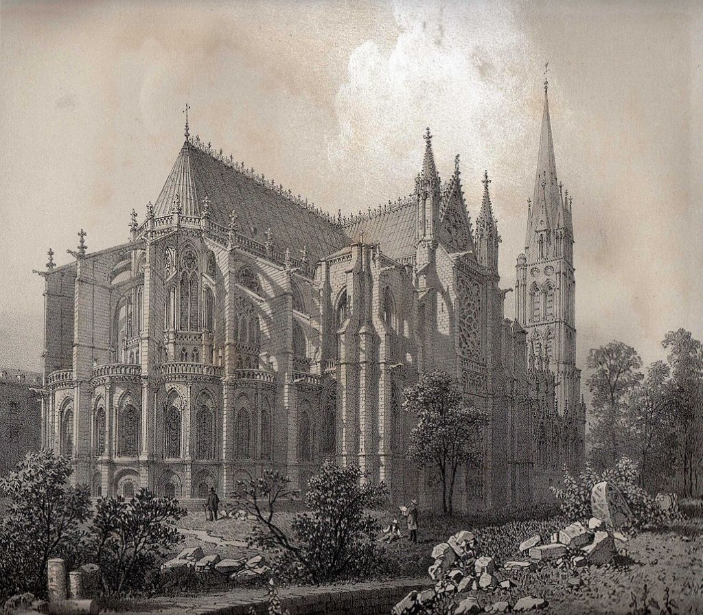 Lithograph by Félix Benoist of the apse and western façade of the Basilica of the Abbey of Saint-Denis (1861). Scan by Félix Potuit via Wikimedia Commons.