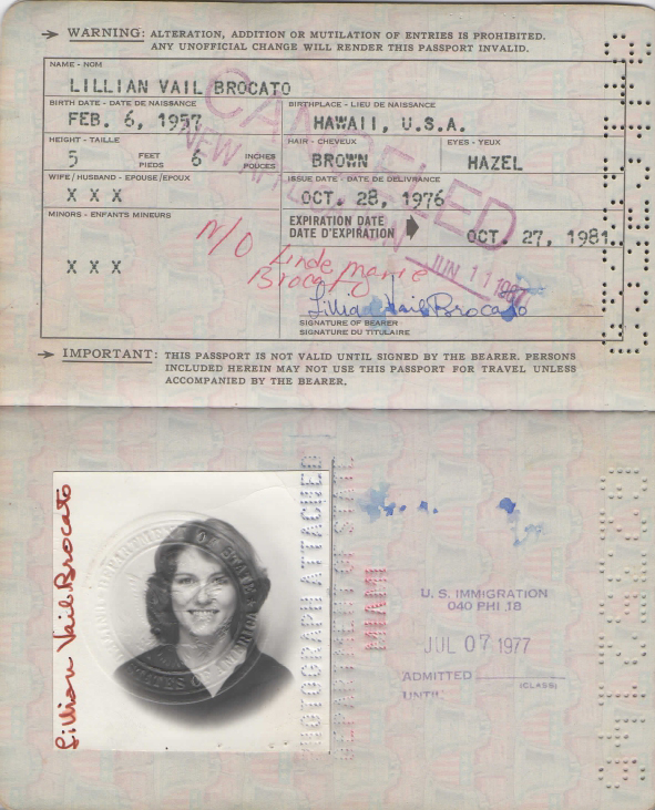 Lilian Vail Brocato passport, opening with photograph