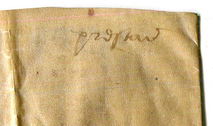 Single-word Docketing inscription added to the back of Document 9 from Preston. Reproduced by permission.