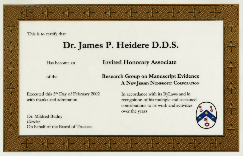 The official version of the Diploma for James J. Heidere