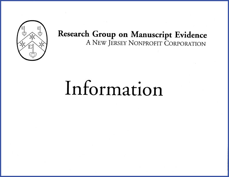 Information Sign for the Research Group on Manuscript Evidence designed for display at the 2001 Inaugural Workshop, laid out in Adobe Garamond.