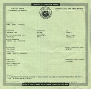 Blanked out Birth Certificate for Lillian Vail Diamond afer Adoption