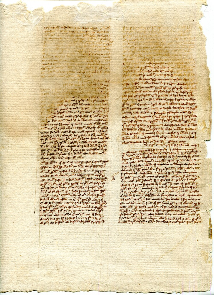 Verso of detached leaf from the Nichomachean Ethics in Latin translation, from a manuscript dispersed by Otto Ege and now in a private collection. Reproduced by permission.