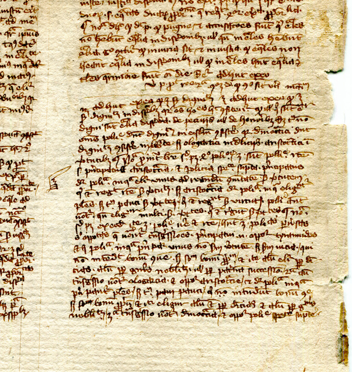 Detail of Recto of detached leaf from the Nichomachean Ethics in Latin translation, from a manuscript dispersed by Otto Ege and now in a private collection. Reproduced by permission.