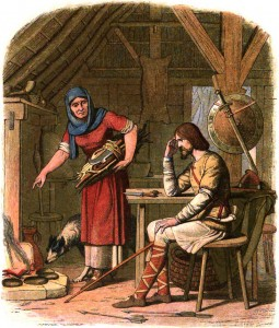 Illustration by James William Edmund Doyle of 'Alfred in the Neatherd's Cottage' in 'A Chronicle of England: B.C. 55 – A.D. 1485 (London 1864) via Wikipedia Commons. Alfred sits through a scolding by the Neatherd's Wife as the cakes burn unattended.