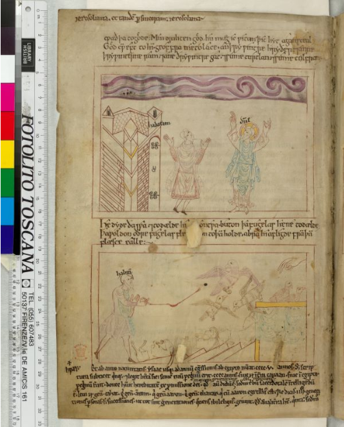 © The British Library Board, Cotton MS Claudius B IV, folio 26v: Genesis 15:10‒11. Reproduced by permission. Reproduced