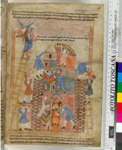 © The British Library Board, Cotton MS Claudius B IV, folio 19r: Genesis 11. Reproduced by permission.