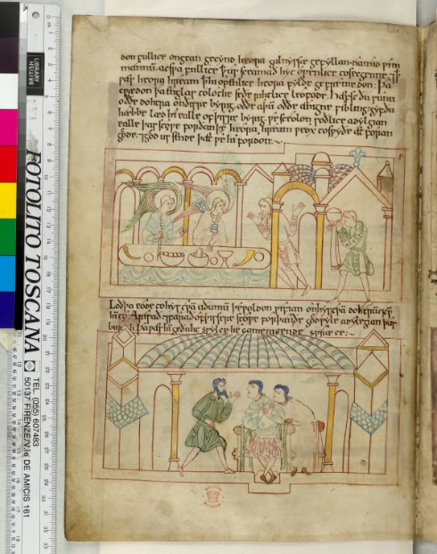© The British Library Board, Cotton MS Claudius B IV, folio 31v: Genesis 19:3‒13. Reproduced by permission.