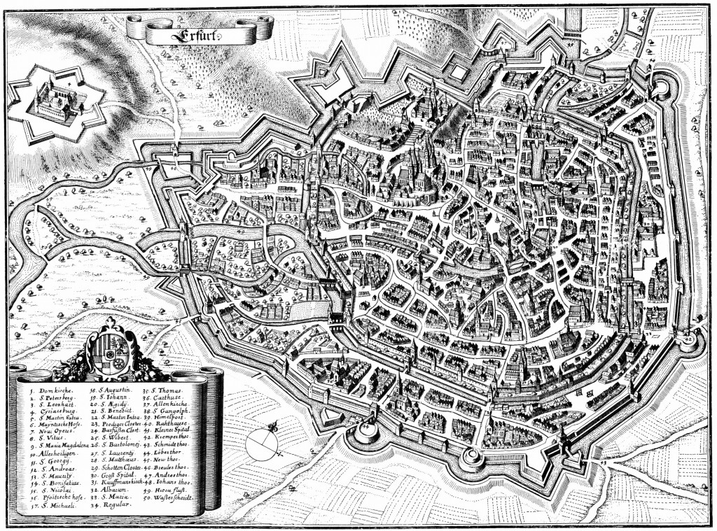 View of Erfurt in engraving by Matthäus Merian the Elder in the 'Topographia Superioris Saxoniae' (1650) via Wikipedia Commons.