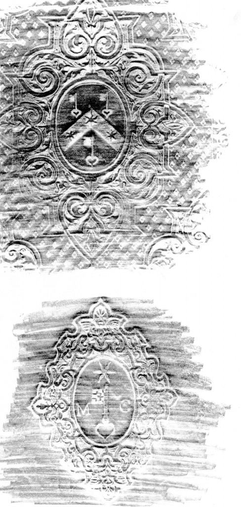 Pencil rubbings of Matthew Parker's coats of arms on bindings for some books. Here: Corpus Christi College, Cambridge, printed books: Archives Y-7-2 and E-S-Par-18. Rubbings by Mildred Budny.