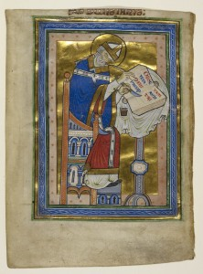 © The British Library Board, Royal MS 10 A.XII, folio 2v. Miniature of Dunstan as a bishop, writing a commentary of the Rule of Saint Benedict, with an inscription 'S[an]c[tu]s Dunstanus'. Reproduced by permission