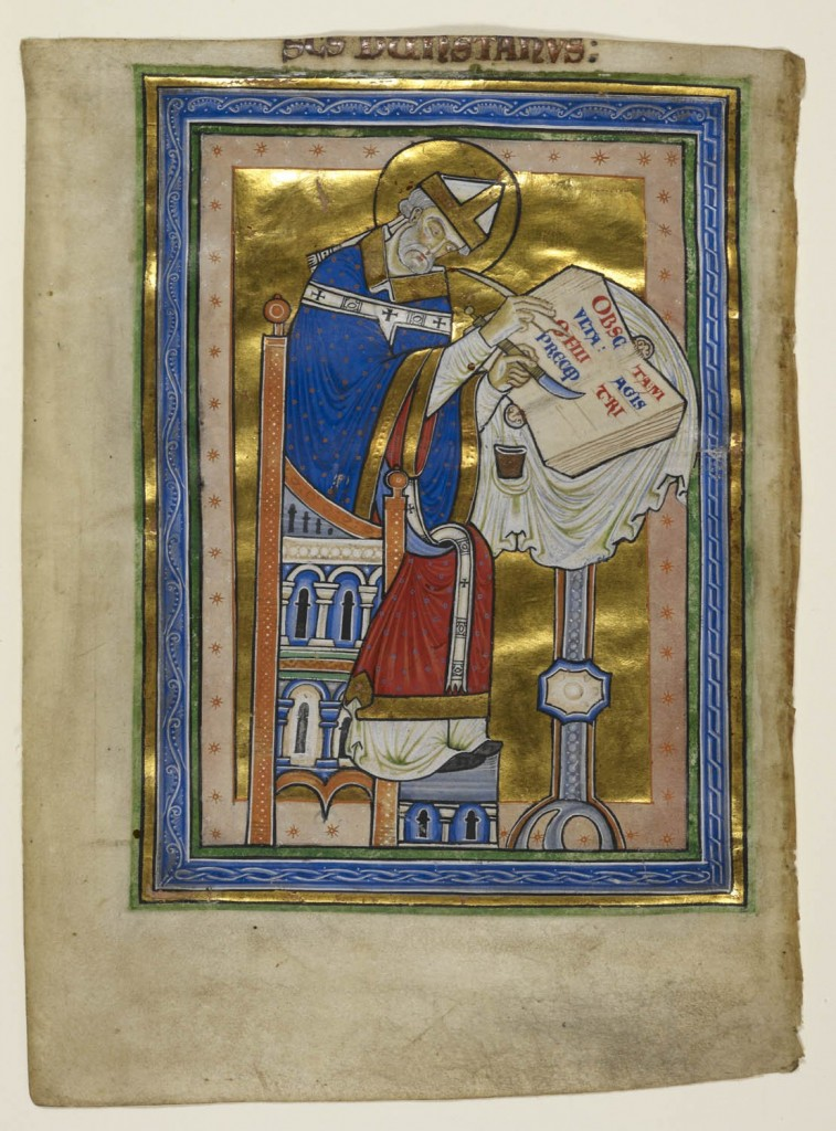 © The British Library Board, Royal MS 10 A.XIII, folio 2v. Miniature of Dunstan as a bishop, writing a commentary of the Rule of Saint Benedict, with an inscription 'S[an]c[tu]s Dunstanus'. Reproduced by permission