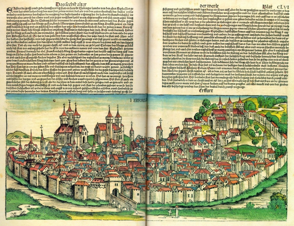 View of Erfurt. Colored woodcut from the 'Nurenberg Chronicle' by Hartmann Schedel (1493). Via Wikipedia Commons.