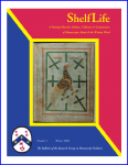 Front Cover of ShelfLife, The Bulletin of the Research Group on Manuscript Evidence, Number 1 (Winter 2006), including a photograph of Corpus Christi College, Cambridge, MS 197B, folio 1 recto. Photograph joint copyright of the Master and Fellows of Corpus Christi College and Mildred Budny.