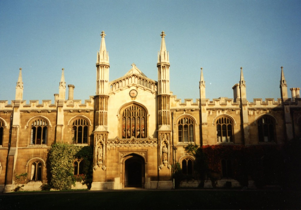 View toward the Chapel, with afternoon moon, at the Entrance to Corpus Christi College in mid-September 1994. Photography © Mildred Budny