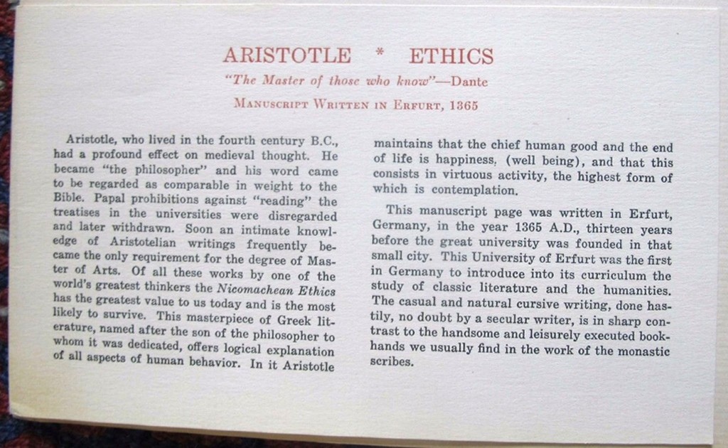 Otto Ege's printed caption for the Aristotle Leaf specimen in his Portfolio of 'Famous Books'