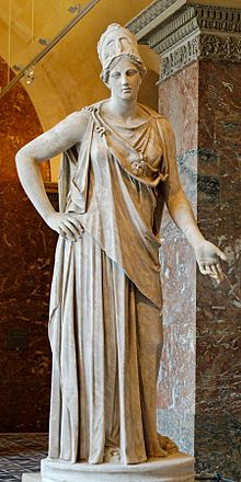 Mattei Athena at the Louvre, Paris. Classical Roman copy from a 4th-century BCE Greek original. Via Wikipedia Commons.