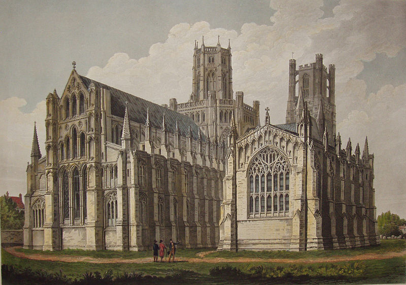 Ely Cathedral, North-East aspect. Proof of Print by John Buckler (1770-1851), via Wikimedia Commons.