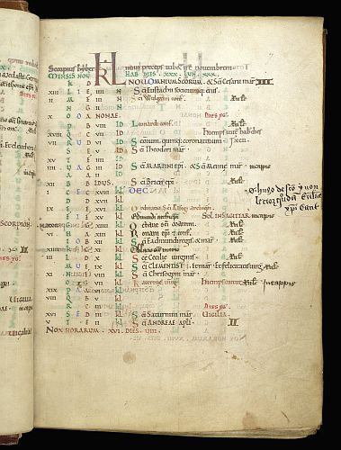 © The British Library Board. Arundel MS 155, folio 7r. November in the Kalendar, recording the ordination of St. Alphege.