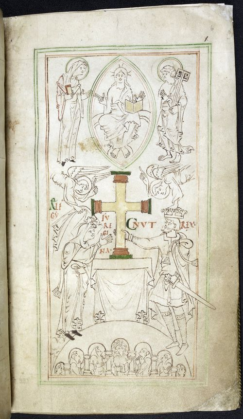 © The British Library Board. Stowe MS 944, folio 6r. Framed frontispiece for the New Minster 'Liber Vitae' of circa 1031, with King Cnut and his Queen Emma/Ælfgifu.