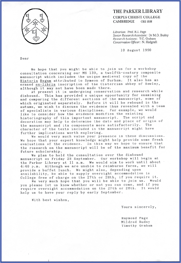 Invitation Letter to 'Corpus Christi College, MS 139' Workshop on 28 September 1990