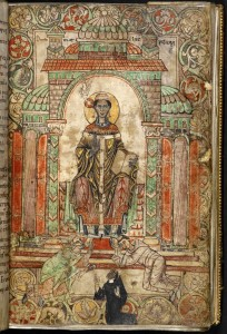 © The British Library Board. Cotton MS Claudius A III, folio 8r. Frontispiece with Gregory the Great enthroned in a niche and reverent monks at his feet. Reproduced by permission