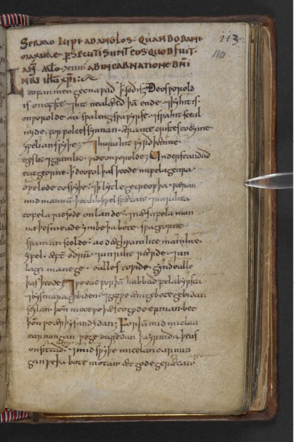 © The British Library Board. Cotton MS Nero A I, folio 110r. Opening of the 'Sermo Lupi'. Reproduced by permission.