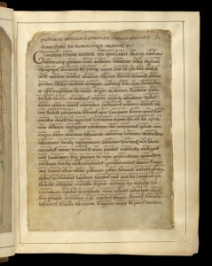© The British Library Board. Cotton MS Tiberius A III, folio 3r. Reproduced by permission.