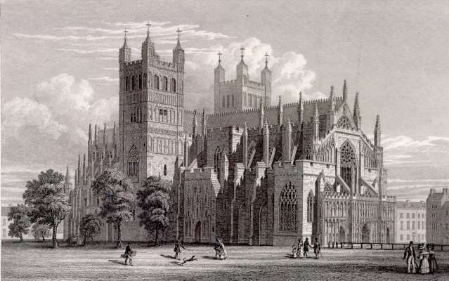 Northwest View of Exeter Cathedral in 1830. Engraving by W. Deeble based on a drawing by R. Browne. Via Wikipedia Commons.