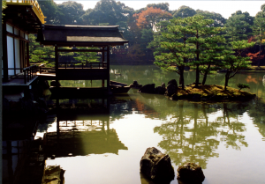 Fishing deck and islets at the rear of Kinkaku-ji, Kyoto. 30 Nov 1992. Photograph © Mildred Budny