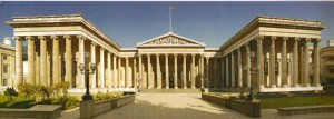 Postcard with frontal view of The British Museum.