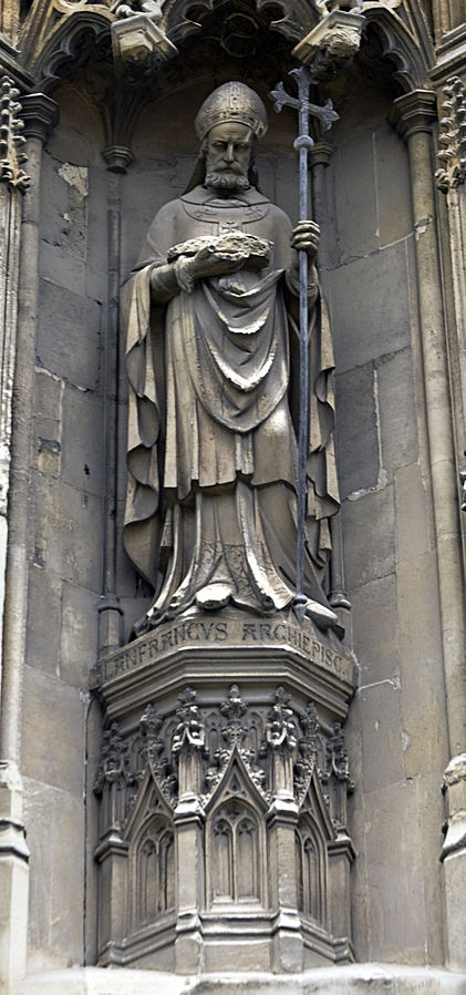 Statue of Lanfranc, Archbishop of Canterbury, from the exterior of Canterbury Cathedral. Photography by Ealdgyth via Creative Commons.