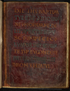 © The British Library Board. Royal MS 1 E VI, folio 30v: Title-Page for the (Lost) Frontispiece for the Mark Gospel. Reproduced by permission