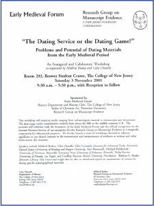 Poster for 2001 Workshop on 'The Dating Service or the Dating Game' on 3 November 2001 at The College of New Jersey, Ewing, New Jersey