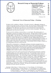 Page 1 of Invitation Letter for Workshop on 1 November 1993 at the Parker Library on 'Professionals' Views of Manuscript Writing'