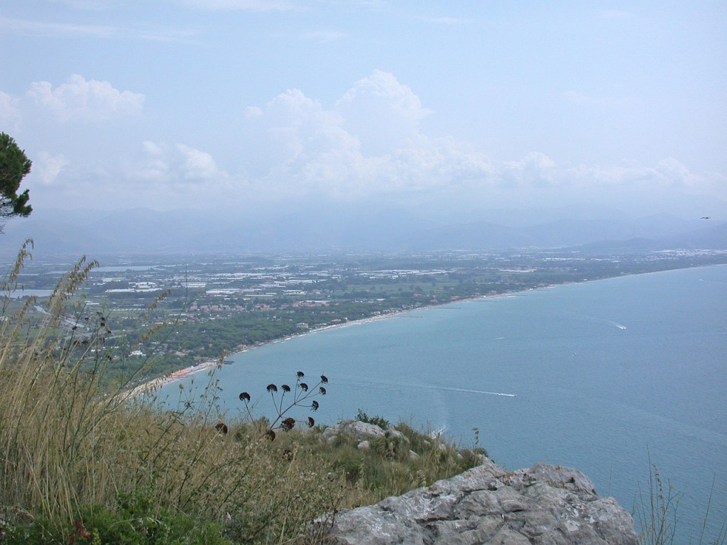 View of the Plain of Fondi from Terracina. Photograph in the Public Domain via Wikipedia.