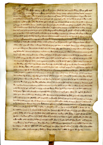 Documentary Arbitration by Philip I Count of Savoy of 1275 opened to face of document