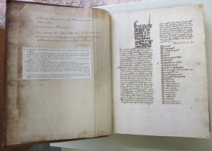 Opening between the Front Flyleaf, Verso, and Folio 1 recto, opening Part A.