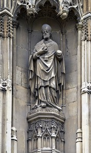 Saint Anselm, Archbishop of Canterbury, carved in stone on the exterior of Canterbury Cathedral. Via Wikipedia.