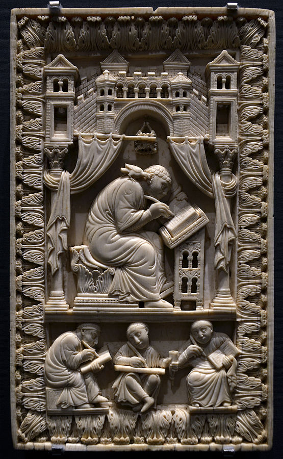 Ivory Plaque with Gregory the Great as Scribe Inspired by the Holy Spirit in the Form of a Dove. Vienna, Kunsthistorisches Museum (Inv. Nr. Kunstkammer, 8399), late 10th century, Lotharingia? Photograph by Vassil via Wikipedia Commons.