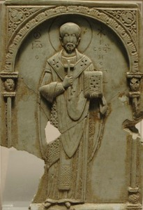 Soapstone Relief of Saint John Chrysostom, 11th Century. Louvre Museum. Photograph © Marie-Lan Nguyen (Jastrow) via Wikimedia Commons.005) via Wikipedia Commons.