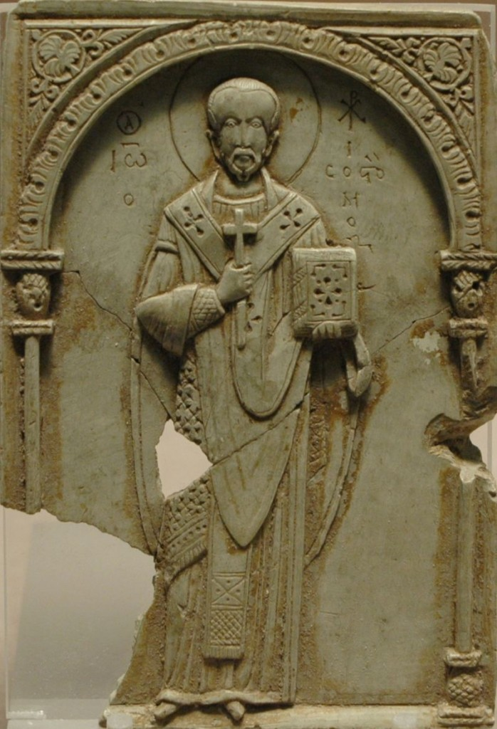 Soapstone Relief of Saint John Chrysostom, 11th Century. Louvre Museum. Photograph by Jastrow (2005) via Wikipedia Commons.