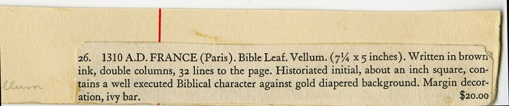 Part of Ege-Style Mat and Label for Item 26 ('1310 A.D. France') accompanying the Leaf at the Courtesy of Flora Lamson Hewlett Library, Graduate Theological Union, Berkeley, CA. Reproduced by permission.