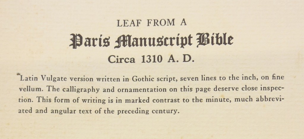 Otto Ege's printed label for Specimen Leaves from Otto Ege MS 61. University of Pennsylvania Set.