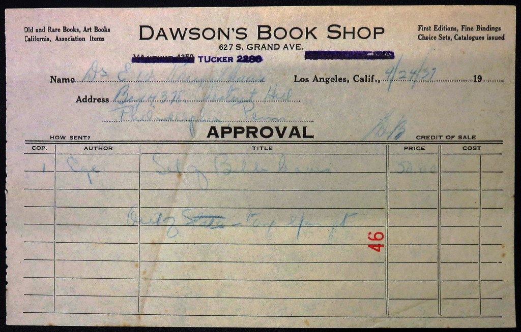IMG_3183 UPenn Ege Famous Books Portfolio Dawsons Receipt illuminated
